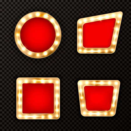 Set of luxury elegant golden frames with shiny glowing gold lamps and red velvet,vector illustration.