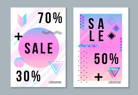 Vector set of discount sale signs in Memphis, bauhaus, hipster style abstract geometric pattern elements. Modern creative trendy design for 70%, 50%, 30% offers, advertising, promotions, posters, banners.