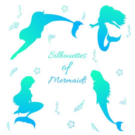 Set of beautiful mermaid silhouettes dancing swimming underwater in blue gradient effect. Illustration