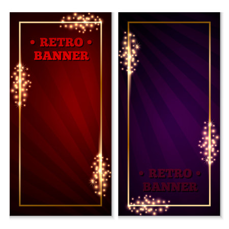 Set of retro old-school banner,ticket or voucher template,red and blue,with gold frame,sparkles and expanding rays on background.
