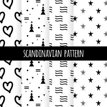 Set of Scandinavian design patterns, vector art graphic. Black and white cards in simple north style with cute hand drawn backdrops, Nordic abstract textures for baby prints, textile, postcards, decorations. 矢量图像