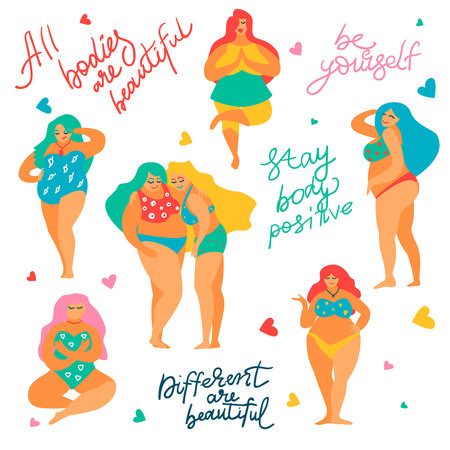 Hand drawn body positive set,Feminism concept.Diversity of female figures,happy smiling plus size girls in bikini,Lettering motivating phrases-All bodies are beautiful,Be yourself,Stay Body Positive