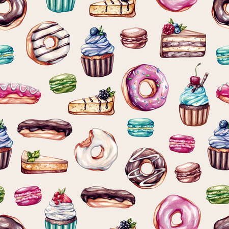 cheese cake: Pattern with sweets. Cupcakes with fruits, macaroons, eclairs, donuts, cheese cake, cake with berries. Watercolor pattern for kitchen, cafe. Stock Photo
