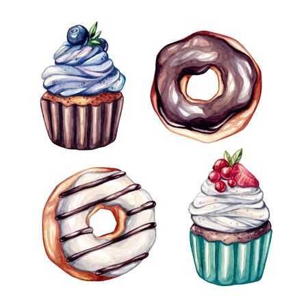 Set of watercolor donuts and cupcakes illustrations. Donuts with chocolate, white toppings. Cupcakes with fruits. Watercorol illustration isolated on white background.