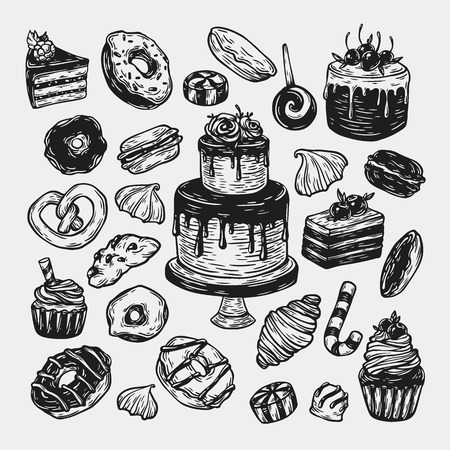 sweetmeat: Vector sweets. Set of hand drawn sweets. Pastry, sweetmeat, desserts. Cakes, ice cream, donuts, cupcakes, candy, bakery.