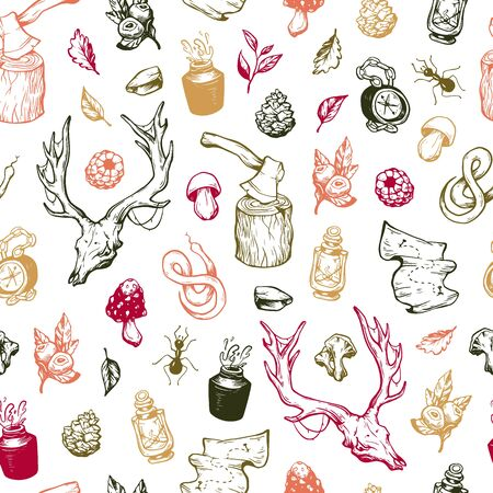 wild berry: Traveling seamless pattern. Forest seamless pattern. Leaves, mushrooms, berries, snake, deer skull, axe, compass, map, insects. Illustration