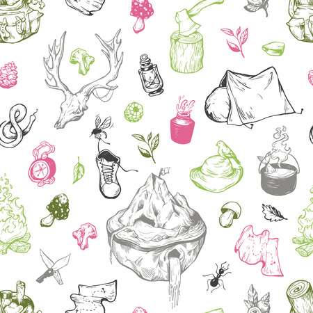 wild berry: Camping and traveling seamless pattern. Illustration