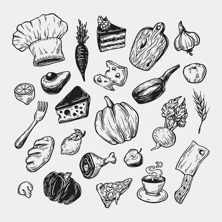 hand tool: Cooking and kitchen. Hand drawn vector set. Kitchenware, cookware, food, meal, vegetables and fruits. Illustration