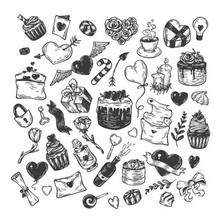 Valentines day. Vector set of hand drawn elements. Valentine, romantic, love. Hearts, sweets, flowers, gifts.