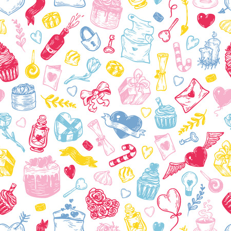 Valentines day. Vector seamless pattern with hand drawn elements.