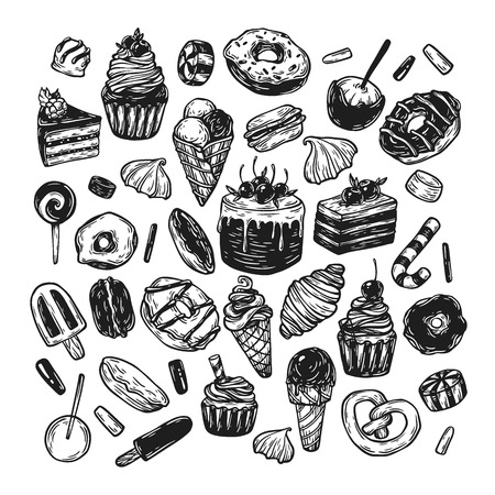 goodie: Vector sweets. Set of hand drawn sweets. Pastry, sweetmeat, desserts. Cakes, ice cream, donuts, cupcakes, candy, bakery.