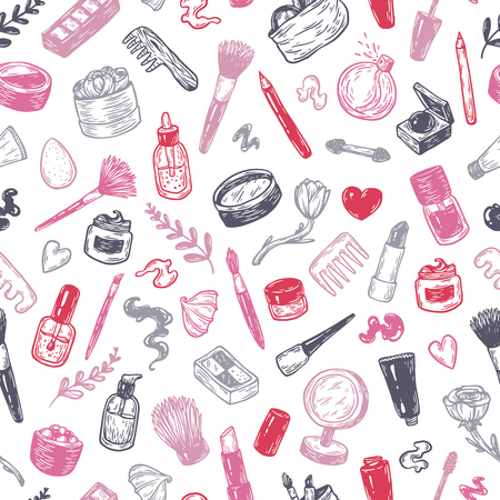 eyeshadow: Beauty products and tools. Hand drawn vector pattern. Make-up products, cosmetics, perfumes, manicure tools. Brushes, lipstick, powder, eyeshadow, mascara.