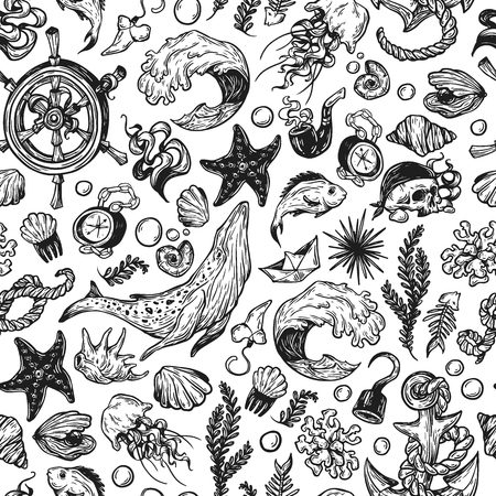Sea pattern. Marine pattern. Nautical elements. Anchor, whale, helm, fishes, pirate elements, shells. Underwater world.