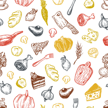 cookware: Kitchen pattern. Cooking pattern. Kitchenware, cookware, food, meal, vegetables and fruits. Multicolor. Illustration