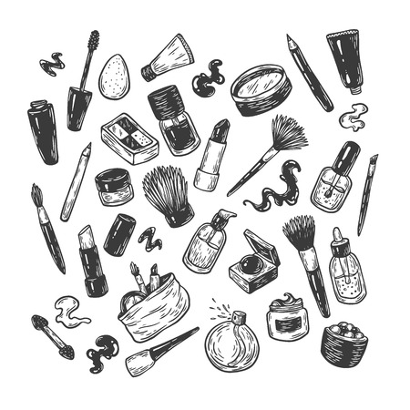 Beauty products and tools. Hand drawn vector set. Make-up products, cosmetics, perfumes, manicure tools. Brushes, lipstick, powder, eyeshadow, mascara. Illustration