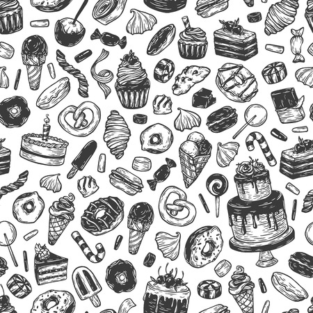 sweetmeat: Vector sweets. Seamless pattern with sweets. Pastry, sweetmeat, desserts. Cakes, ice cream, donuts, cupcakes, candy, bakery.