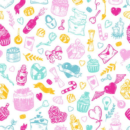 Valentines day. Vector seamless pattern with hand drawn elements. Valentine, romantic, love. Hearts, sweets, flowers, gifts. Illustration