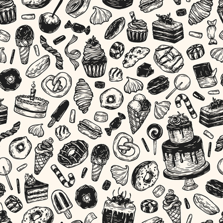 goodie: Vector sweets. Seamless pattern with sweets. Illustration