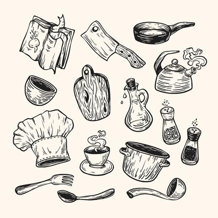 요리와 부엌. 손 벡터 세트를 그려. 주방 용품, 조리기구, 식기.