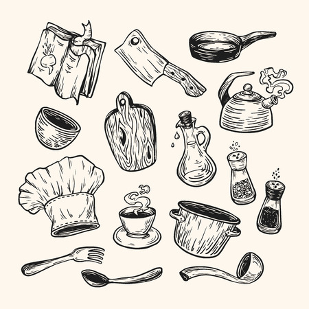 cookware: Cooking and kitchen. Hand drawn vector set. Kitchenware, cookware, tableware.