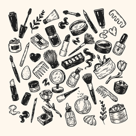 beauty products: Beauty products and tools. Hand drawn vector set. Make-up products, cosmetics, perfumes, manicure tools. Brushes, lipstick, powder, eyeshadow, mascara. Illustration