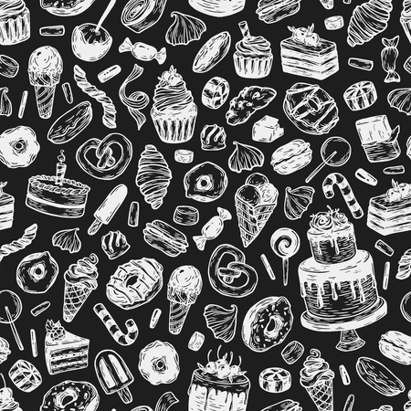 Vector sweets. Seamless pattern with sweets. Pastry, sweetmeat, desserts. Cakes, ice cream, donuts, cupcakes, candy, bakery. ?halk drawing. Çizim