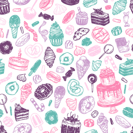 Vector sweets. Seamless pattern with sweets. Pastry, sweetmeat, desserts. Cakes, ice cream, donuts, cupcakes, candy, bakery. Multicolor.