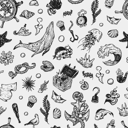 nautic: Sea pattern. Marine pattern.