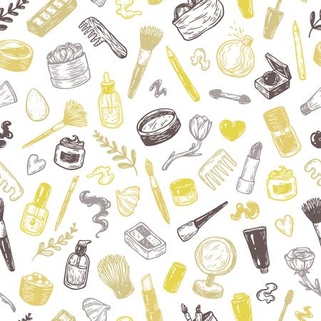美容製品とツールです。手描きの背景パターン。  イラスト・ベクター素材