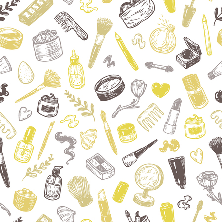 Beauty products and tools. Hand drawn vector pattern.