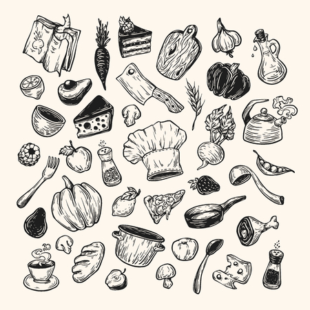 cookware: Cooking and kitchen. Hand drawn vector set. Kitchenware, cookware, food, meal, vegetables and fruits. Illustration