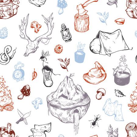 Camping and traveling seamless pattern. Ilustração