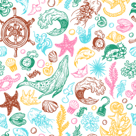 nautic: Sea pattern. Marine pattern. Nautical elements. Anchor, whale, helm, fishes, pirate elements, shells. Underwater world.