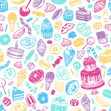 sweetmeat: Vector sweets. Seamless pattern with sweets. Pastry, sweetmeat, desserts. Cakes, ice cream, donuts, cupcakes, candy, bakery. Multicolor.