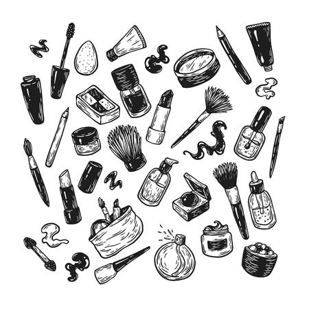 eyeshadow: Beauty products and tools. Hand drawn vector set. Make-up products, cosmetics, perfumes, manicure tools. Brushes, lipstick, powder, eyeshadow, mascara. Illustration