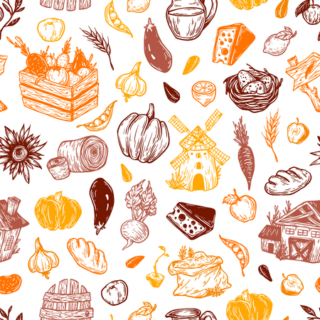 Farming seamless pattern. Farm, harvest, vegetables, fruits, dairy products. Organic farm. Fresh market.