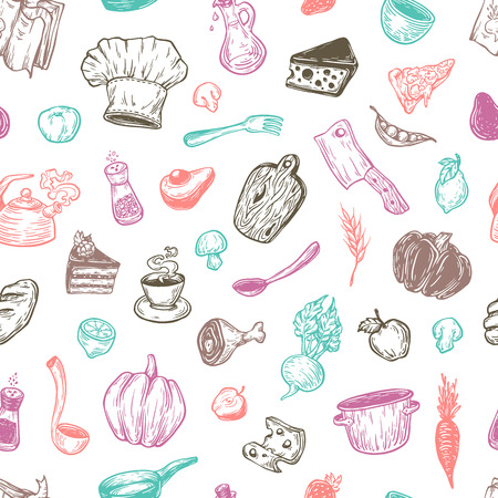 cookware: Kitchen pattern. Cooking pattern. Kitchenware, cookware, food, meal, vegetables and fruits. Multicolor pattern. Illustration