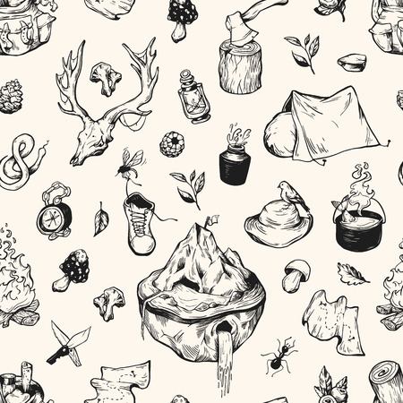 wild berry: Camping and traveling seamless pattern. Vector elements. Backpack, campfire, tent, cauldron, compass, axe, map, berries, leaves, mushrooms.
