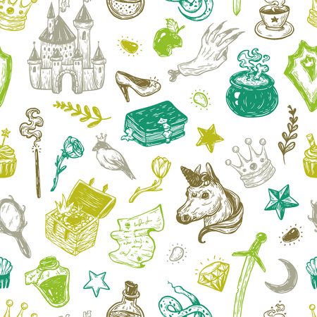 elixir: Hand drawn vector pattern with elements from fairy tale. Fantasy, magic elements. Castle, unicorn, potions.
