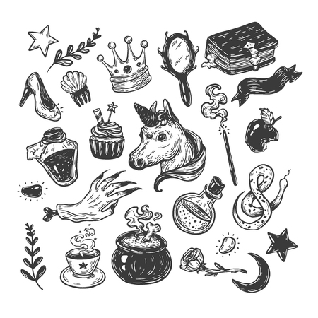 Hand drawn vector set with elements from fairy tale. Fantasy, magic elements. Castle, unicorn, potions.