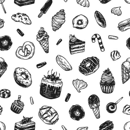 sweetmeat: Vector sweets. Seamless pattern with different kinds of sweets. Pastry, sweetmeat and desserts. Cakes, ice cream, donuts, cupcakes, candy, bakery.