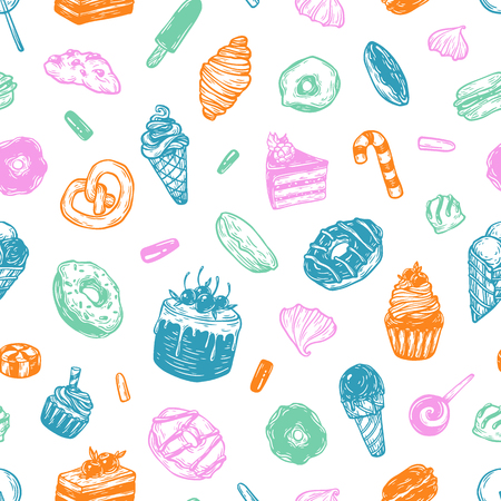 savoury: Vector sweets. Seamless pattern with different kinds of sweets. Pastry, sweetmeat and desserts. Cakes, ice cream, donuts, cupcakes, candy, bakery.