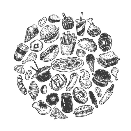 Hand drawn vector fast food elements in round composition. Junk, unhealthy food. Burger, dessert, pizza, hot dog. Illustration