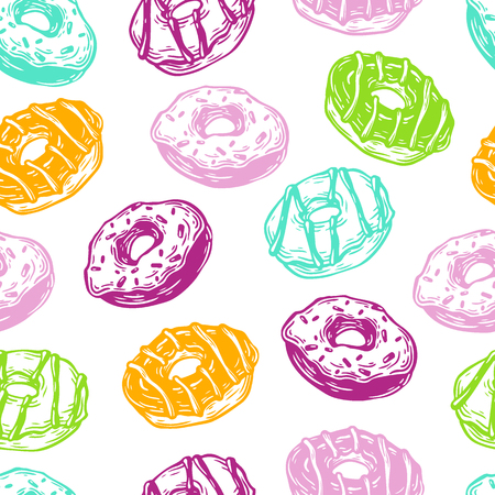 glaze: Hand drawn vector pattern with donuts. Vector donuts. Outline, ink. Vector pattern for kitchen, cafe and menu.