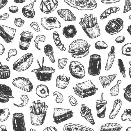 Fast food patroon. Hand getrokken vector patroon. Junk, ongezonde voeding. Burger, dessert, pizza, hotdog, soda, frieten, saus.
