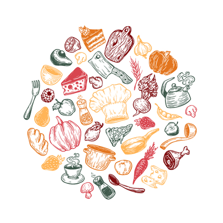 Hand drawn vector cooking and kitchen elements in round composition. Kitchenware and food in circle. Cookware, vegetables and dairy products.