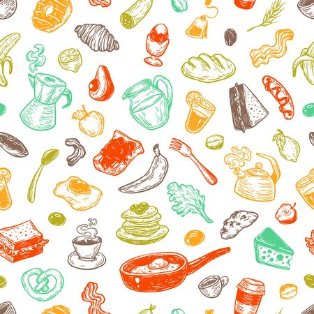 Hand drawn pattern with breakfast and morning elements. Vector breakfast food, meal and drinks. Eggs, bacon, coffee, sweets, fruits and vegetables. Illustration