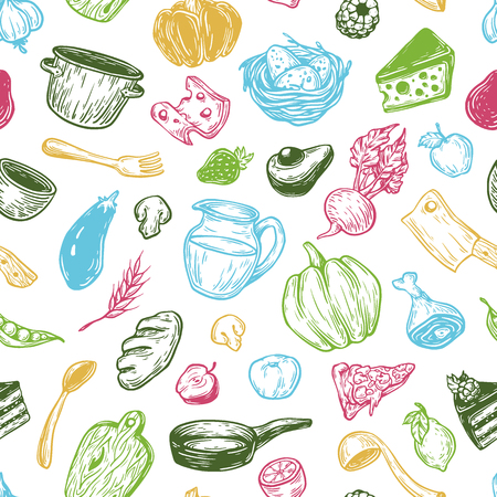 Kitchen pattern. Cooking pattern. Kitchenware, cookware, food, meal, vegetables and fruits.