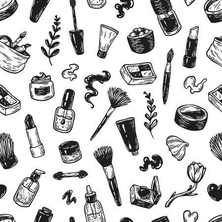 Beauty products and tools. Hand drawn vector pattern. Make-up products, cosmetics, perfumes, manicure tools. Brushes, lipstick, powder, eyeshadow, mascara.