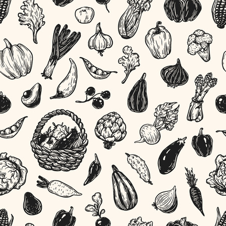 leek: Hand drawn pattern with vegetables. Big vegetable collection. Fresh, natural and vegetarian food. Sketch style, freehand.